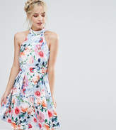 Paper Dolls Petite Floral Printed High Neck Prom Dress