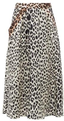 La Prestic Ouiston Burty Leopard-print Silk-twill Midi Skirt - Womens - Leopard