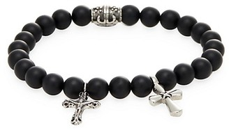Jean Claude Onyx and Stainless Steel Cross Charm Bracelet