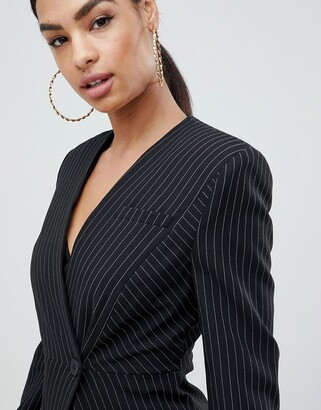Asos Design DESIGN suit blazer with sharp shoulders in cut about pinstripe-Multi