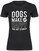 Black 'Dogs Make Me Happy' Fitted Tee - Women