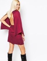 Motel Cape Sleeve Shift Dress With Open Back