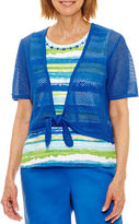 Alfred Dunner Corsica Short Sleeve Tie-Front Layered Top Petites