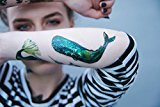 Set of 5 Waterproof Temporary Fake Tattoo Stickers Green Whale Ocean Fish Unique
