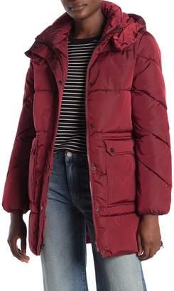 Lucky Brand Hooded Utility Pocket Zip Puffer Jacket