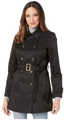 Lauren Ralph Lauren Short Double Breasted Trench (Black) Women's Coat