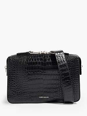 53bca01ba37 Karen Millen Leather Croc Effect Shoulder Bag, Black