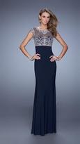 La Femme 20537 Sheer Beaded Long Gown