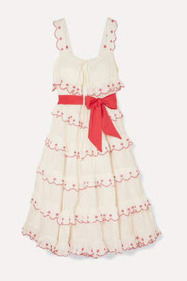 Innika Choo Iva Biigdres Embroidered Tiered Cotton Midi Dress - White