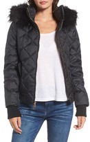 Juicy Couture Women's Hooded Puffer Jacket With Faux Fur Trim
