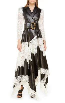 Alexander McQueen Long Leather & Guipure Lace Jacket