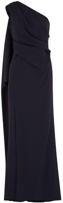 Paule Ka Navy One-shoulder Gown