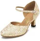 Minitoo Women's Floral Mary Jane Satin Party Evening Pumps Dance Shoes 9 M US