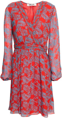 Diane von Furstenberg Wrap-effect Printed Silk-chiffon Mini Dress