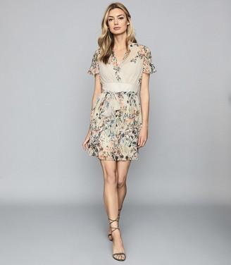 Reiss SADIE FLORAL PRINTED MINI DRESS Neutral
