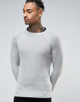 Diesel Crew Knit Sweater K-Alby Slim Fit Waffle in Gray Marl