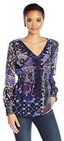 Desigual Women's ELO Woven Long Sleeve Blouse, Navy, XS