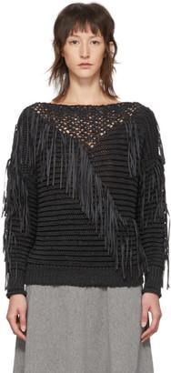 Stella McCartney Black Knit Fringe Crewneck Sweater