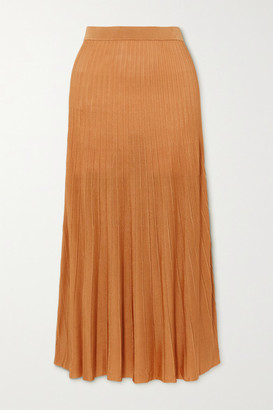 Joseph Ribbed-knit Midi Skirt - Gold