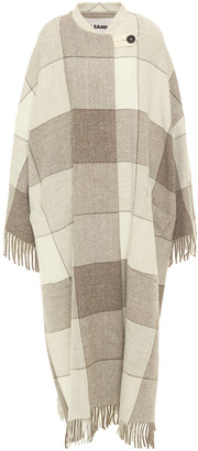 Jil Sander Fringed Checked Wool-felt Coat