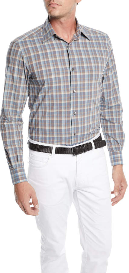 Ermenegildo Zegna Men's Woven Large-Plaid Cotton Sport Shirt
