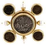 Elizabeth Locke 18K Coin & Pearl Brooch