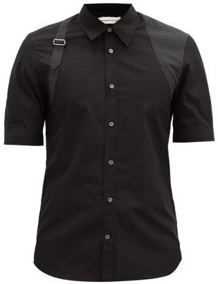 Alexander McQueen Harness-strap Polka-dot Cotton Shirt - Black Multi
