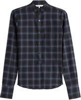 Helmut Lang Wool-Cashmere Shrunken Plaid Shirt