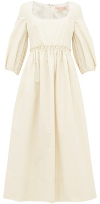 Brock Collection Square Neck Cotton Blend Midi Dress - Womens - Cream