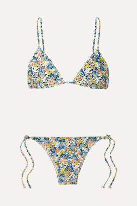 Faithfull The Brand Aira Floral-print Triangle Bikini - Blue