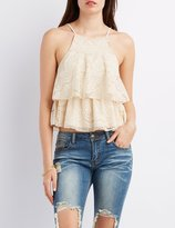 Charlotte Russe Layered Lace Tank Top