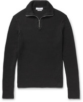 Sandro Ribbed Cotton Half-zip Sweater - Black