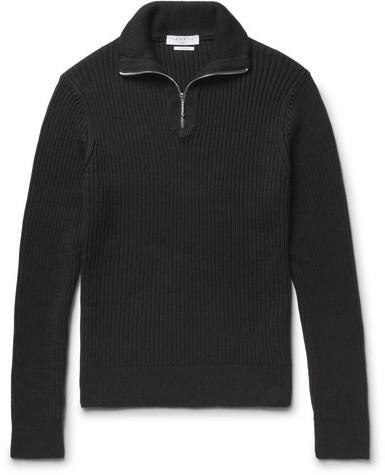 Sandro Ribbed Cotton Half-zip Sweater - Black
