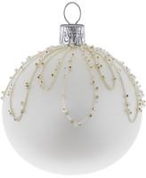 Christmas Shop Beaded Loop Pattern White Ornament