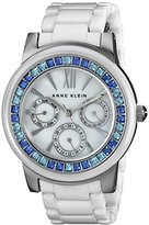 Anne Klein Women's AK/1683BLWT Blue Swarovski Crystal-Accented Watch with White Ceramic Bracelet