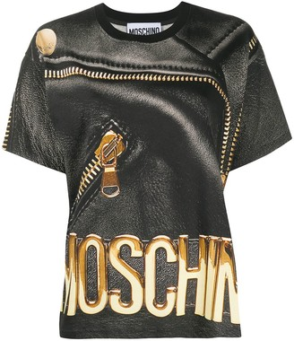 Moschino leather-print T-shirt