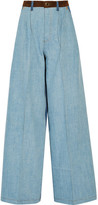 Sonia Rykiel Suede-trimmed Mid-rise Wide-leg Jeans - Blue