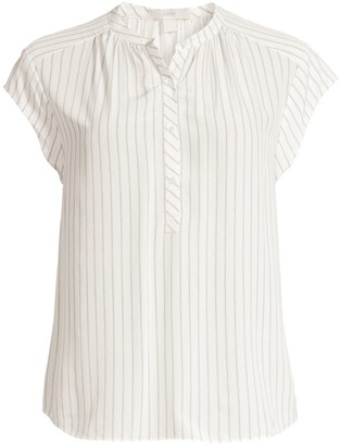 Joie Hassie Striped Cap-Sleeve Blouse