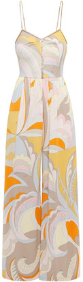 Emilio Pucci Crystal-embellished Printed Jersey Wide-leg Jumpsuit