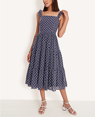 Ann Taylor Petite Lattice Ruffle Tiered Midi Dress