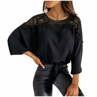 YAAY Women Fashion Lace Hollow Out Blouse 3/4 Sleeve Self-Tie Front Bandage Casual Tops Novelty Lace Patchwork Summer Shirt Black