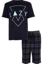 River Island Boys blue lazy check pajama set