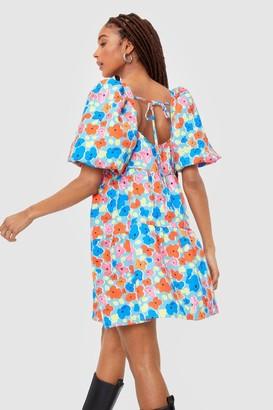 Nasty Gal Womens Bud System Floral Puff Sleeve Mini Dress - Blue - 4