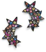 SheBee Sterling Silver Multicolor Sapphire Star Ear Climbers