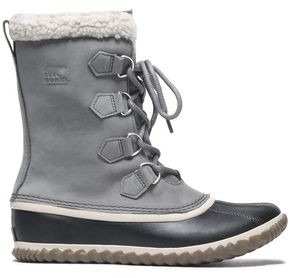 Sorel Caribou Slim Faux Shearling-trimmed Rubber And Suede Snow Boots