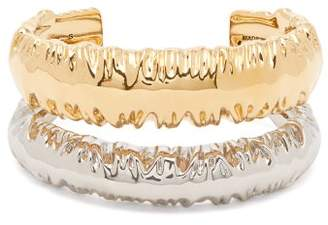 Givenchy Eclipse Textured Double Cuff - Womens - Gold