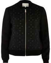 River Island Womens Black eyelet detail bomber jacket