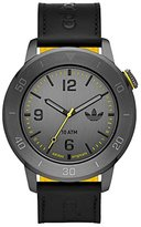 adidas adh3027 46mm Ion Plated Stainless Steel Case Black Calfskin Mineral Men's Watch