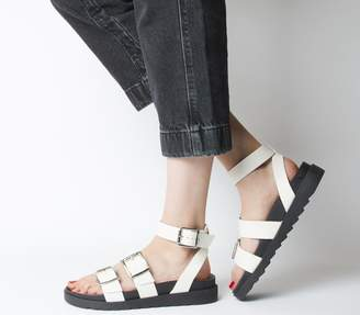 Office Stingray Ankle Strap Cleated Sandals Off White Leather