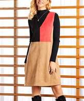 Suzanne Betro Dresses Women's Casual Dresses 101KHAKI - Khaki Color Block A-Line Sleeveless Dress - Women & Plus